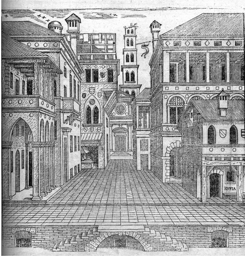 "Serlio, ""Comical scene,"" The First Book of Architecture"