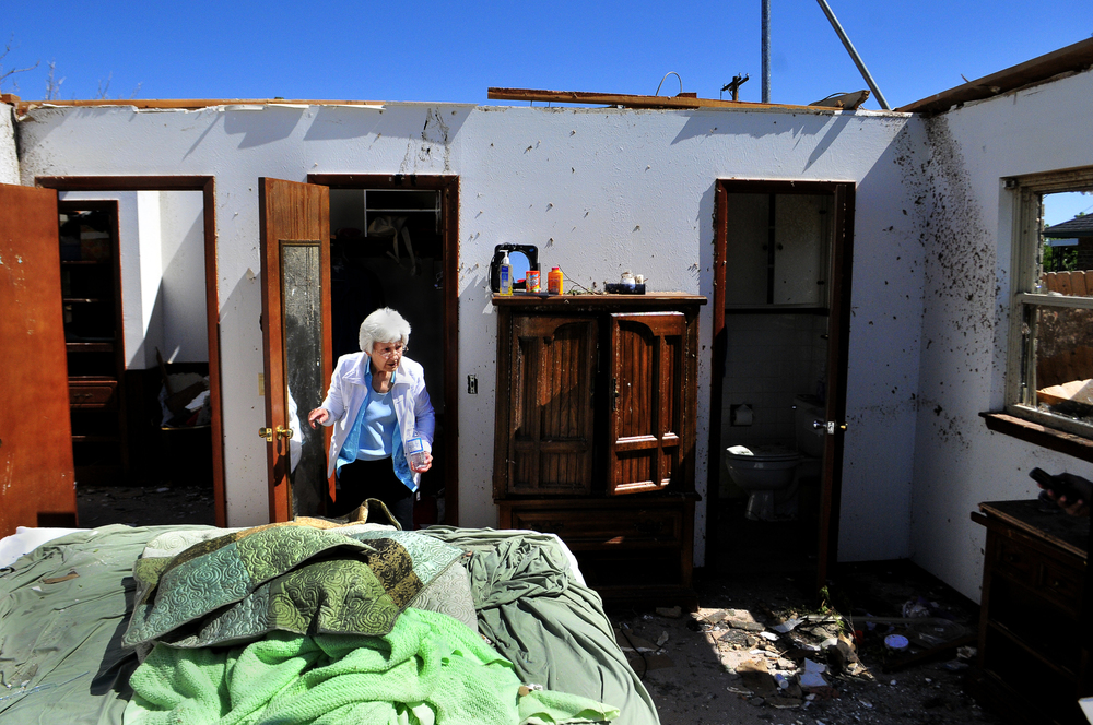 Wilma Nelson, 87, stands in the closet that she took shelter in while a tornado destroyed her home in Woodward Oklahoma on Sunday April 15, 2012. Nelson also survived the deadly tornado that struck Woodward Oklahoma on April, 9 1947. Nick Oxford for The New York Times