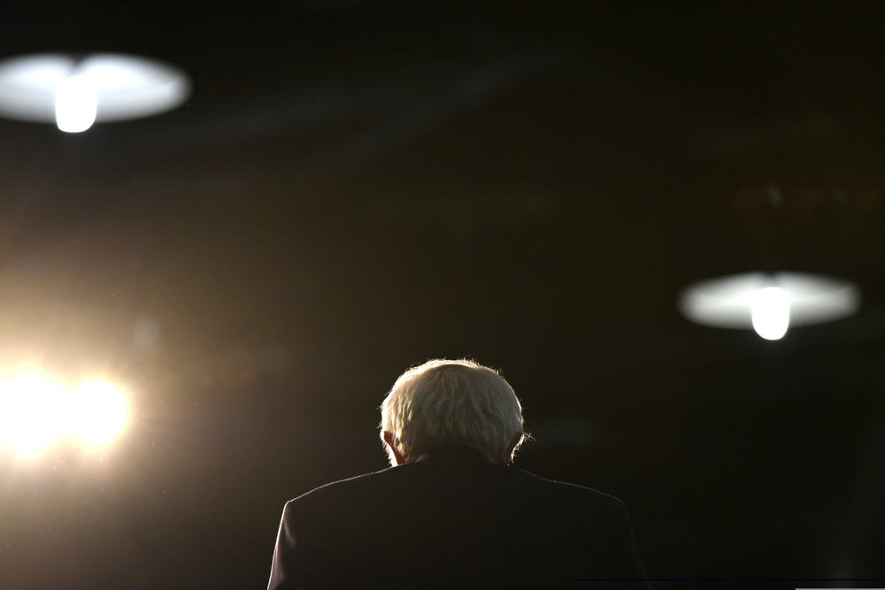 Democrat presidential candidate Bernie Sanders speaks to supporters at a rally in Tulsa Oklahoma.