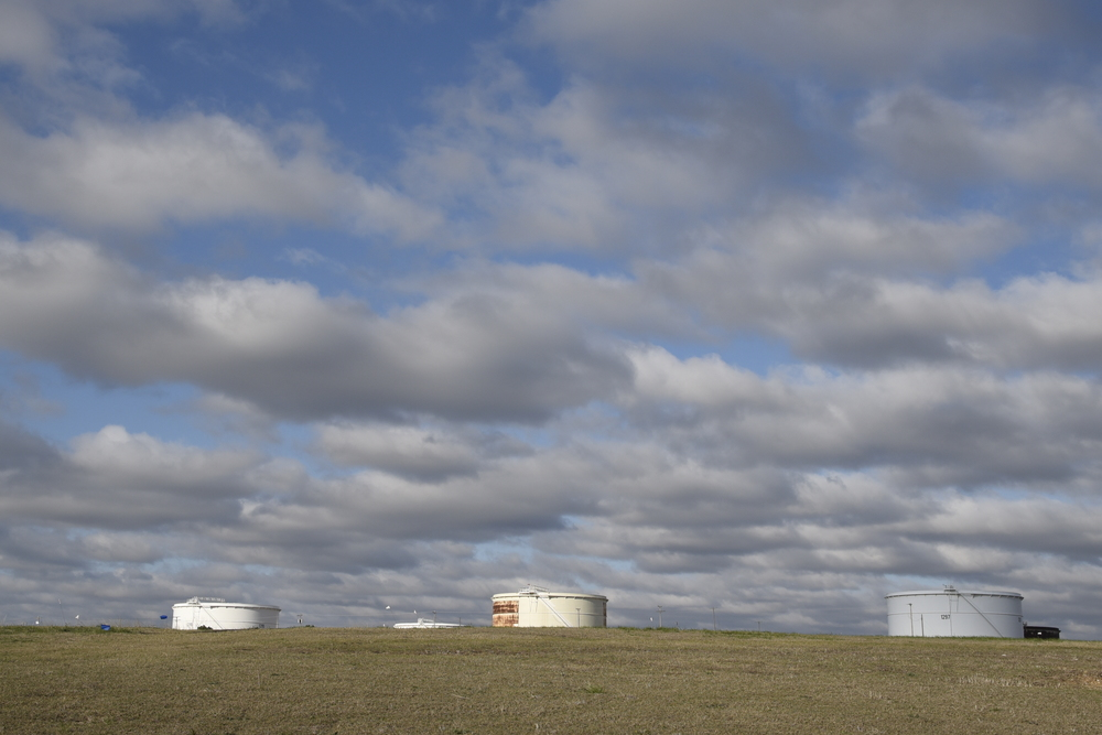 Enbridge Inc.'s crude oil storage tanks are seen during a tour of their tank farm in Cushing, Oklahoma