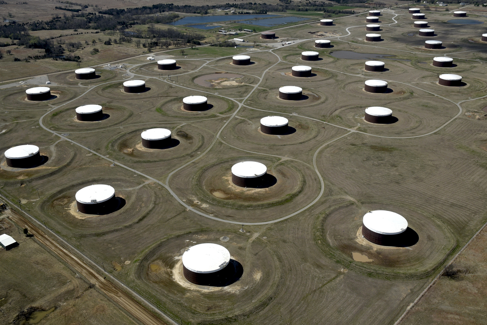 Crude oil storage tanks are seen from above at the Cushing oil hub in Cushing, Oklahoma