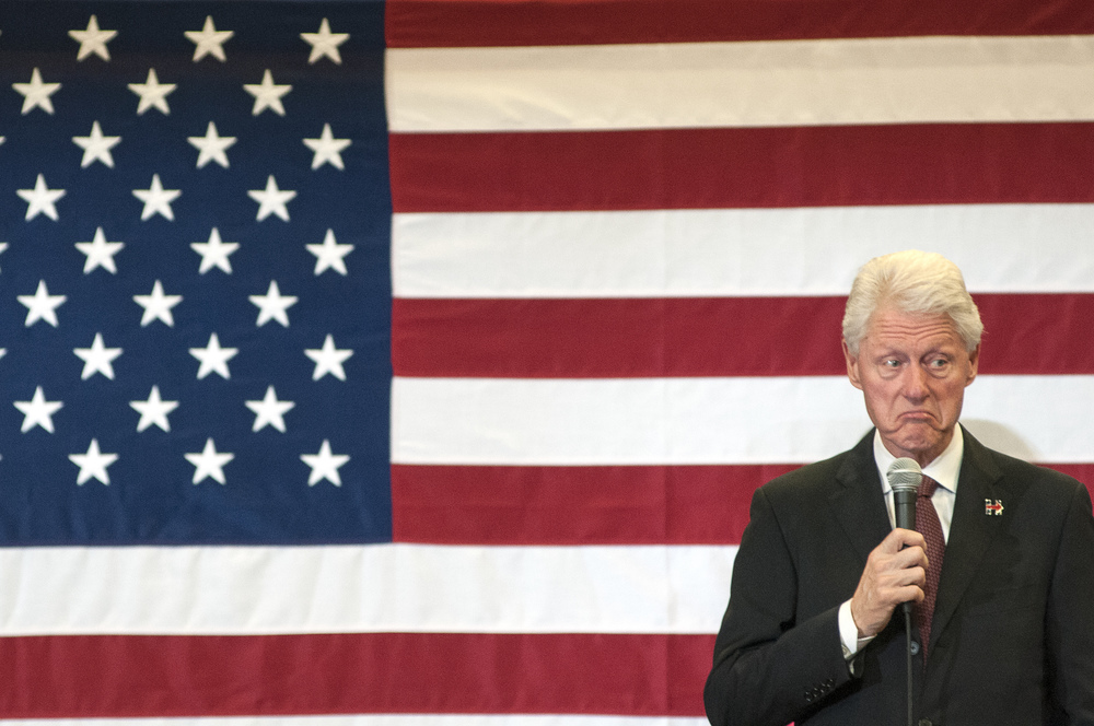 Bill Clinton gives a speech at Martin Luther King High School in support of Democratic presidential candidate Hillary Clinton in Oklahoma City.