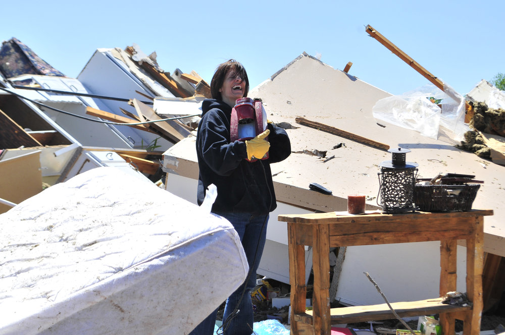 Mikki Ray had a laugh after finding her friends Keurig coffee machine completely intact in what was left behind of her friends home that was destroyed by a tornado that ripped through Woodward Oklahoma early Sunday morning.