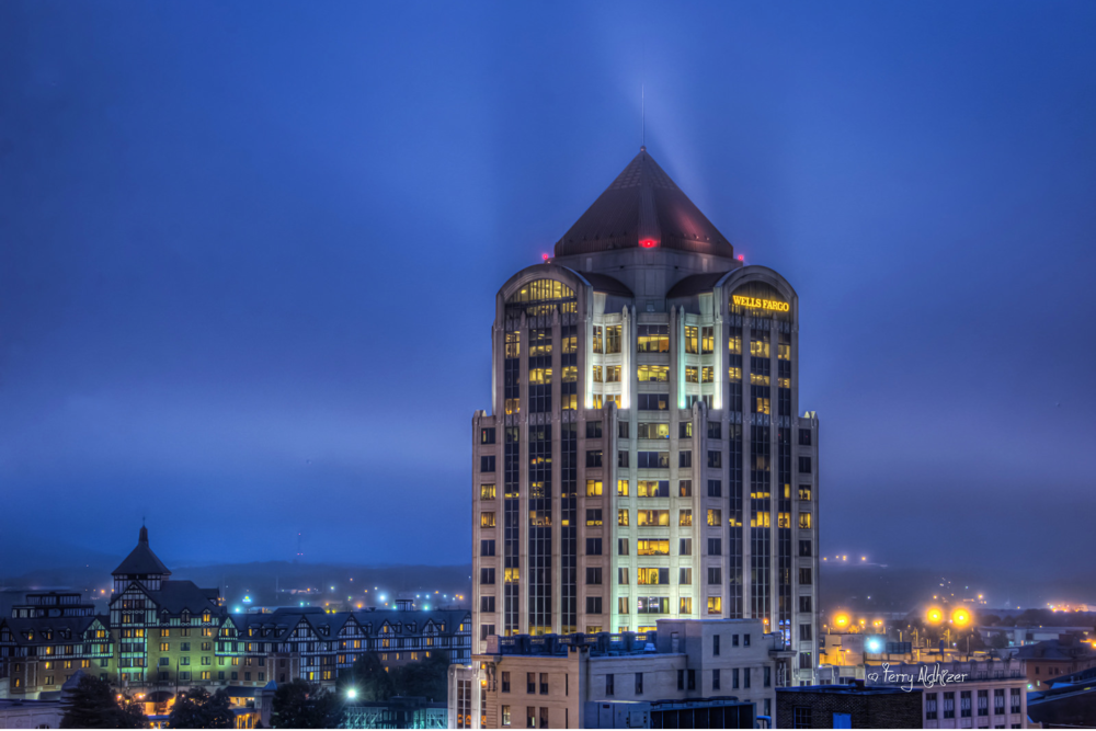 Wells Fargo Building with the historic Hotel Roanoke in the background