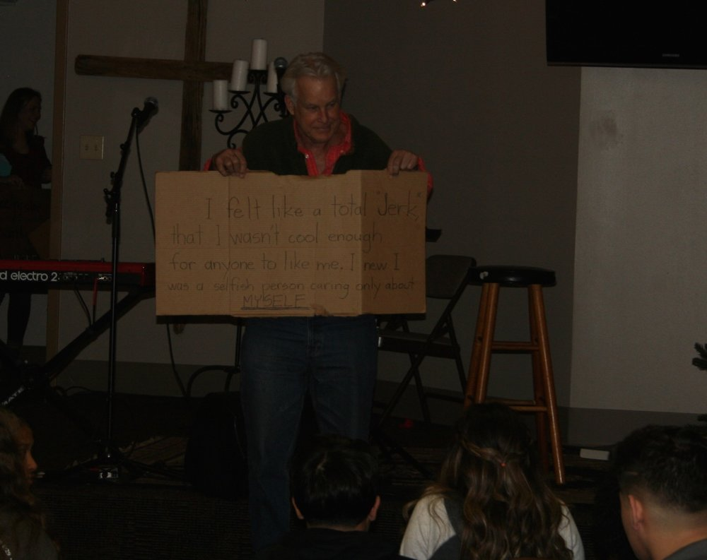 "Richard sharing his ""Cardboard Testimony"" at our final club this fall semester"
