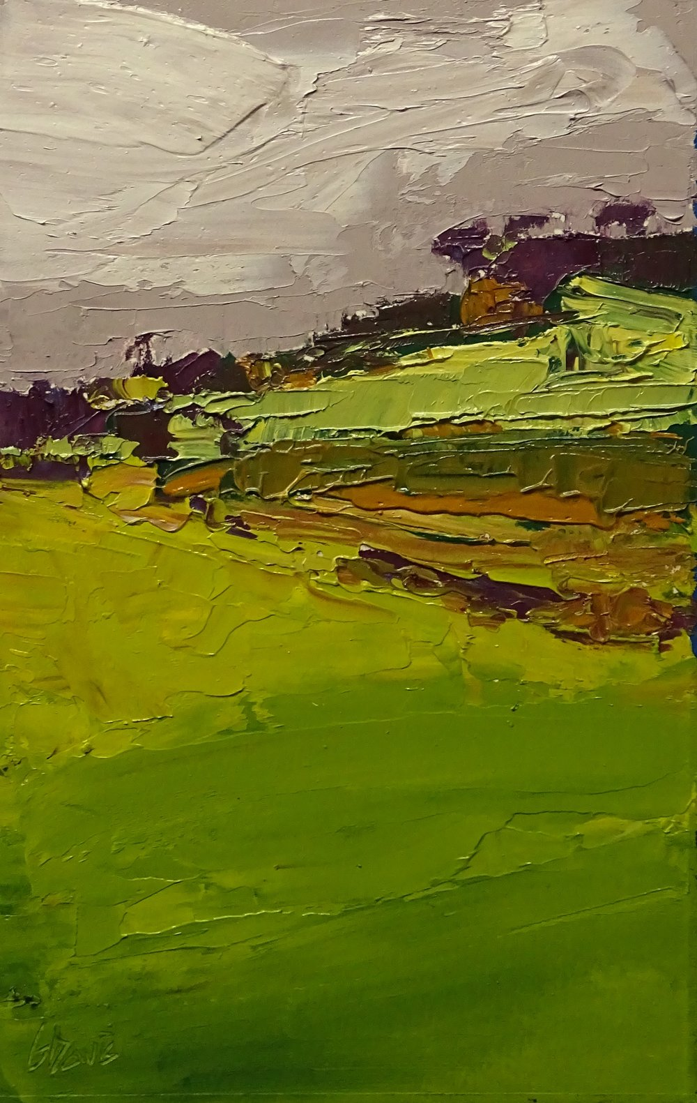 """Farm Road"" oil on paper 6x10in"