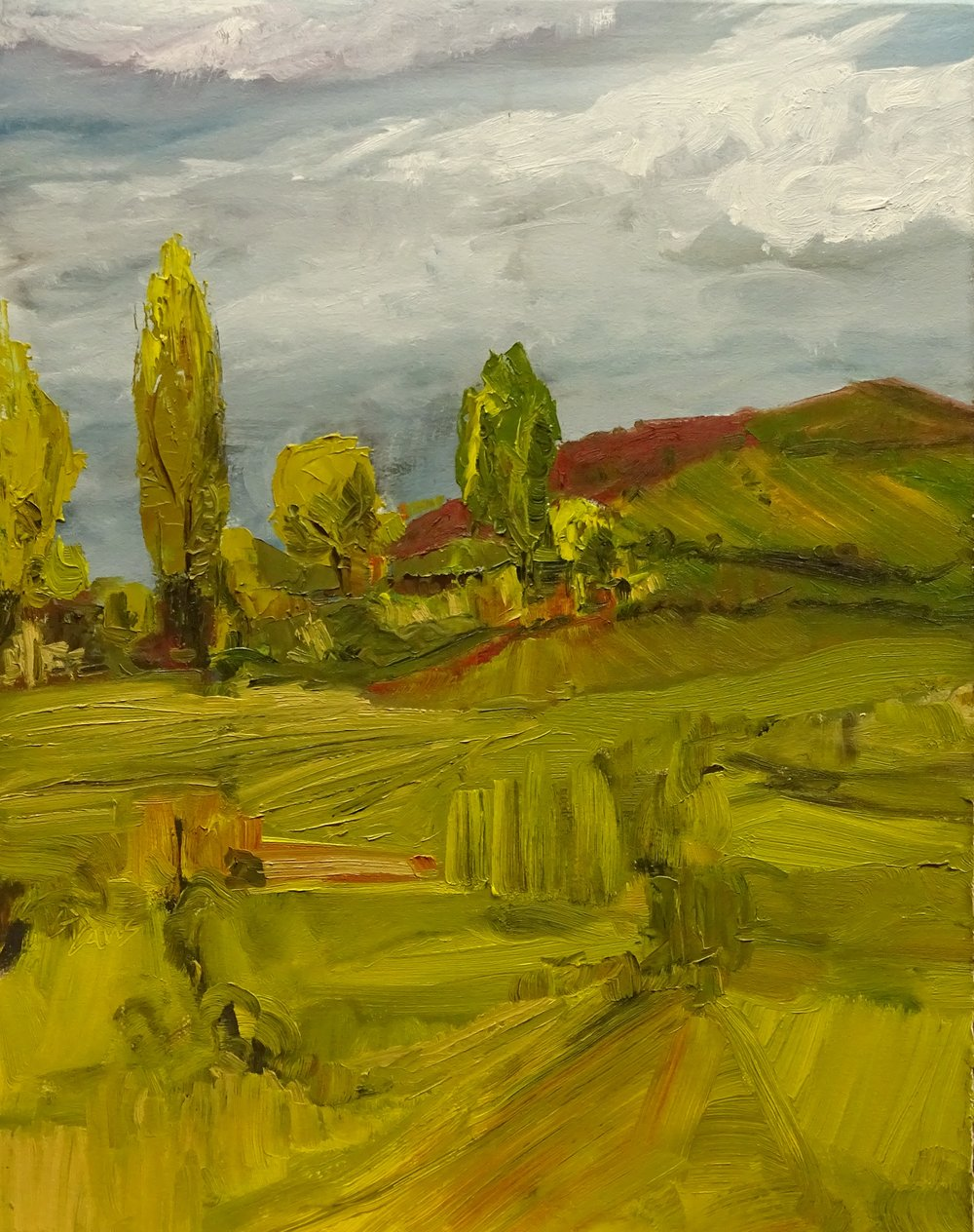"""Fields"" oil on paper 22x17in"