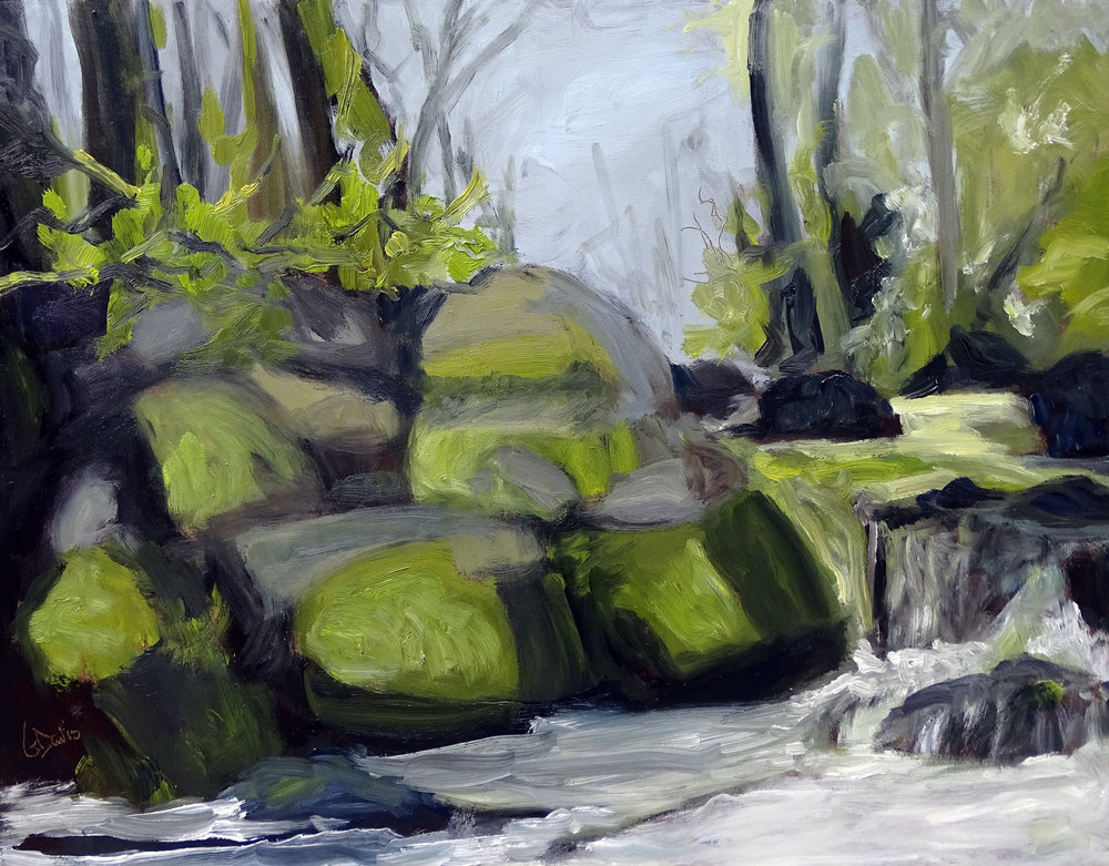 """Mountain Stream"" oil on board 9x12in"