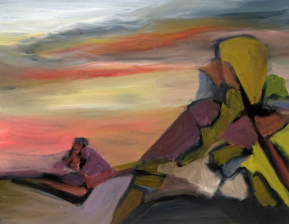 """Lookout Rocks"" oil on board 11x9in"