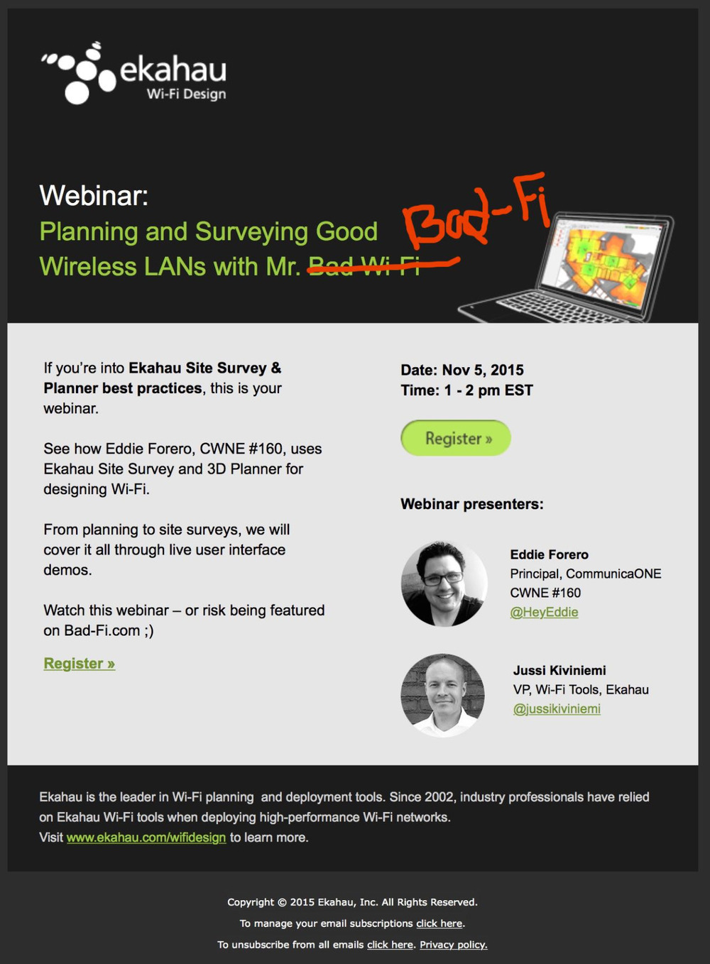 "Another webinar to help keep you away from the ""Bad-Fi"" in your life."