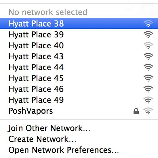 So, if you're wondering why your hotel wi-fi sucks it's probably because of this. By the numbering scheme it looks like each of these is an individual AP broadcasting its own SSID. I can't even imagine how bad the Wi-Fi is, and I don't even want to think about having to manage all these individual access points! 😱 via Twitter from @RevolutionWiFi For those times when you absolutely need to control which specific AP you're connecting to! @HeyEddie #BadFi pic.twitter.com/87m7OihwAz — Andrew von Nagy (@revolutionwifi) February 4, 2015