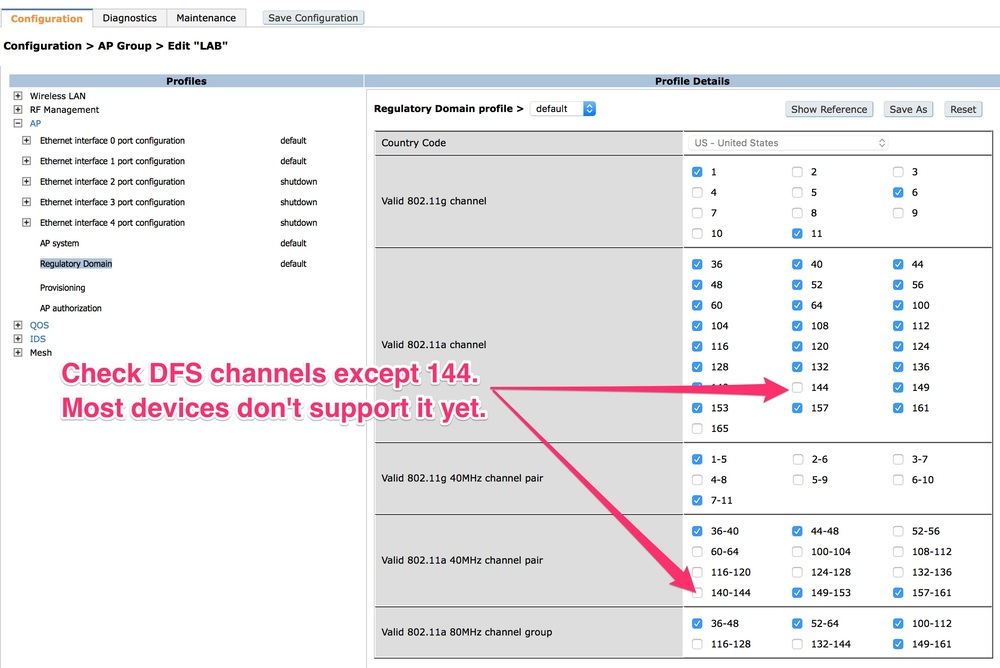 Enabling DFS channels