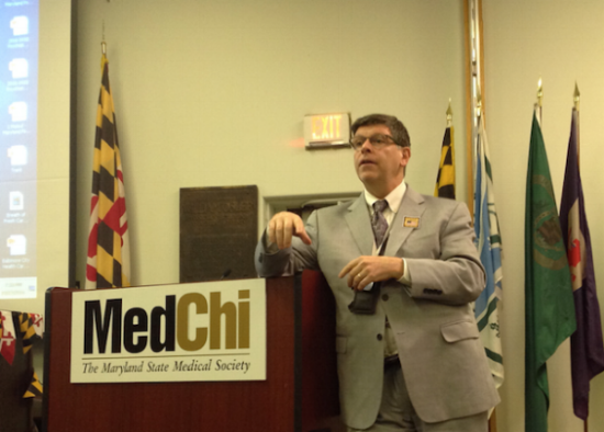 - In 2016, Chesapeake PSR held two workshops in conjunction with MedChi, The Maryland State Medical Society, for health professionals and advocates to develop a common advocacy agenda to end lead poisoning in Maryland. Dr. Cliff Mitchell of the Department of Health and Mental Hygiene, at left, updates participants on the state's new testing requirements. Read presentations from the two workshops by clicking here.