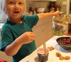 Olive loves her Kite Hill yogurt with our Double Nut Raw Granola!