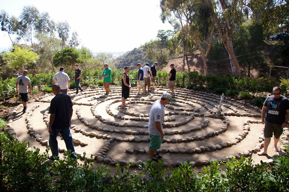 Warriors from Cohort 013 walk a labyrinth, which is an ancient contemplative practice that helps Warriors to reflect internally and leave behind painful parts of their pasts. Photo courtesy of Garrett Combs.