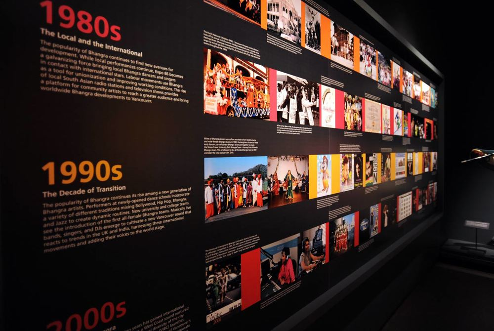 Bhangra.me exhibition design for the Museum of Vancouver, timelines