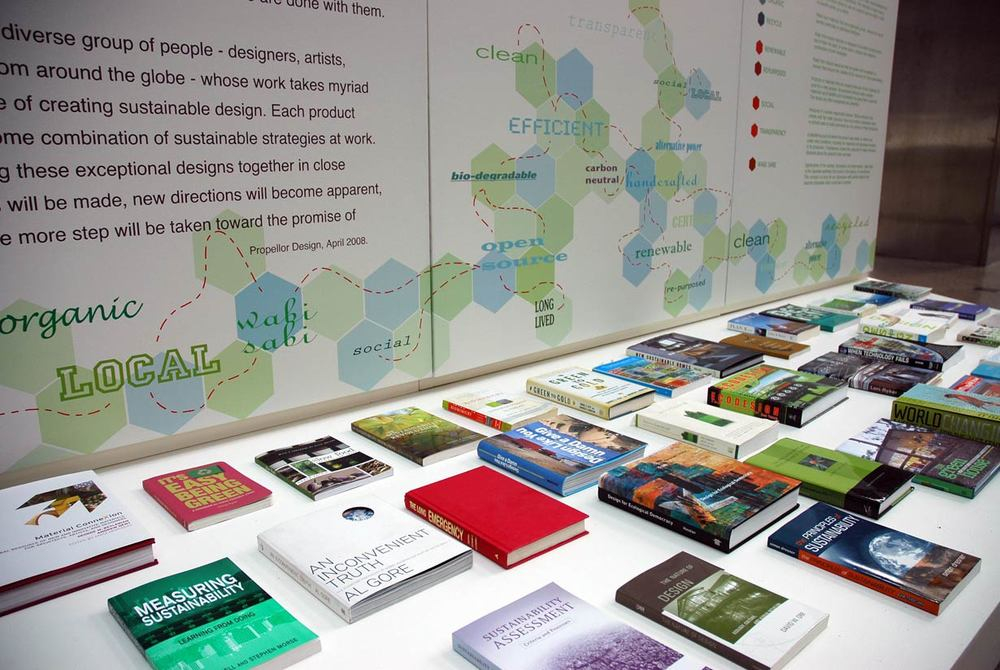 Swell: Future Friendly Design Exhibition Graphic & book display