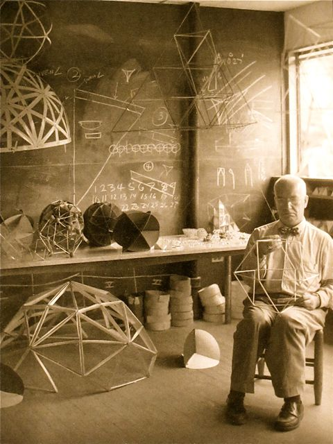 Buckminster Fuller prototyping geodesic forms in his studio.