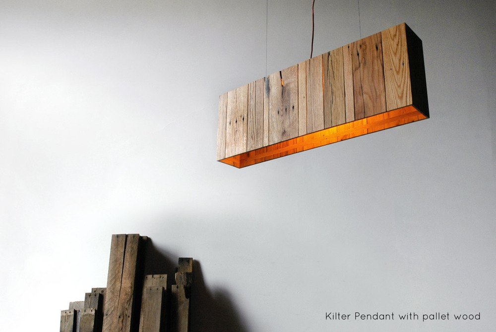 "Kilter Pendant - 38"" x 6"" x 13"", reclaimed pallet wood 
