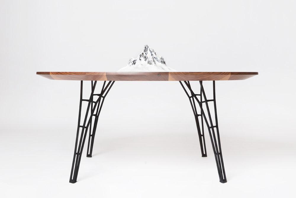 Range Table - walnut hardwood with mountain sculpture