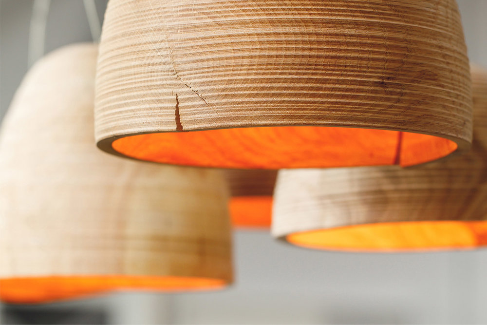 Turn Light (detail) - reclaimed white oak