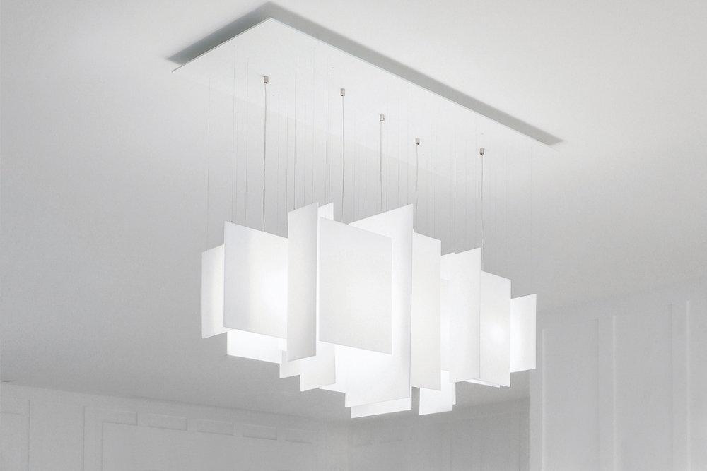 Serac 44 x 16 Chandelier - opaque white