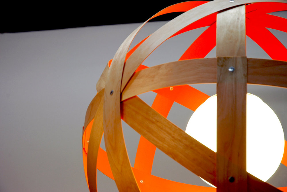 Meridian 24 Pendant Light - birch, custom painted interior