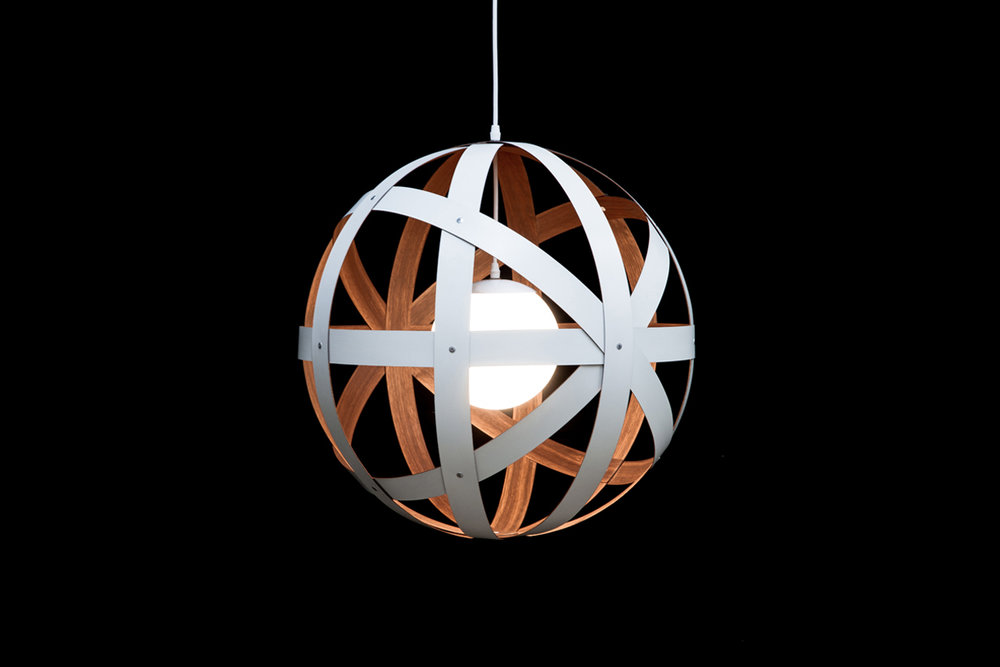 Meridian 24 Pendant Light - walnut, custom painted exterior