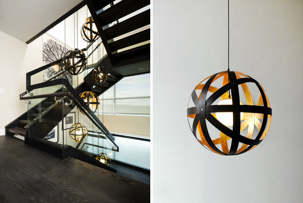 Meridian Pendant Lights - black stained walnut with gold leaf interiors