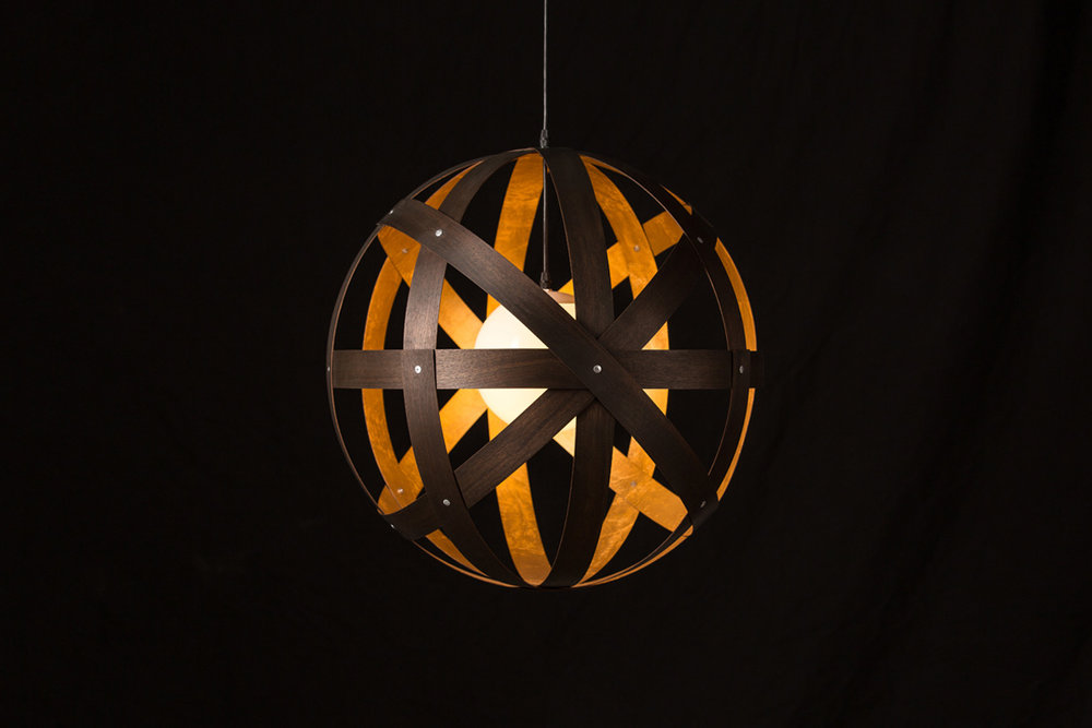 Meridian 24 Pendant Light - black stained walnut with gold leaf interior