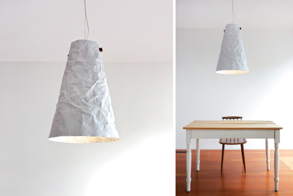 Ono Pendant Light - matte white, walnut hanger