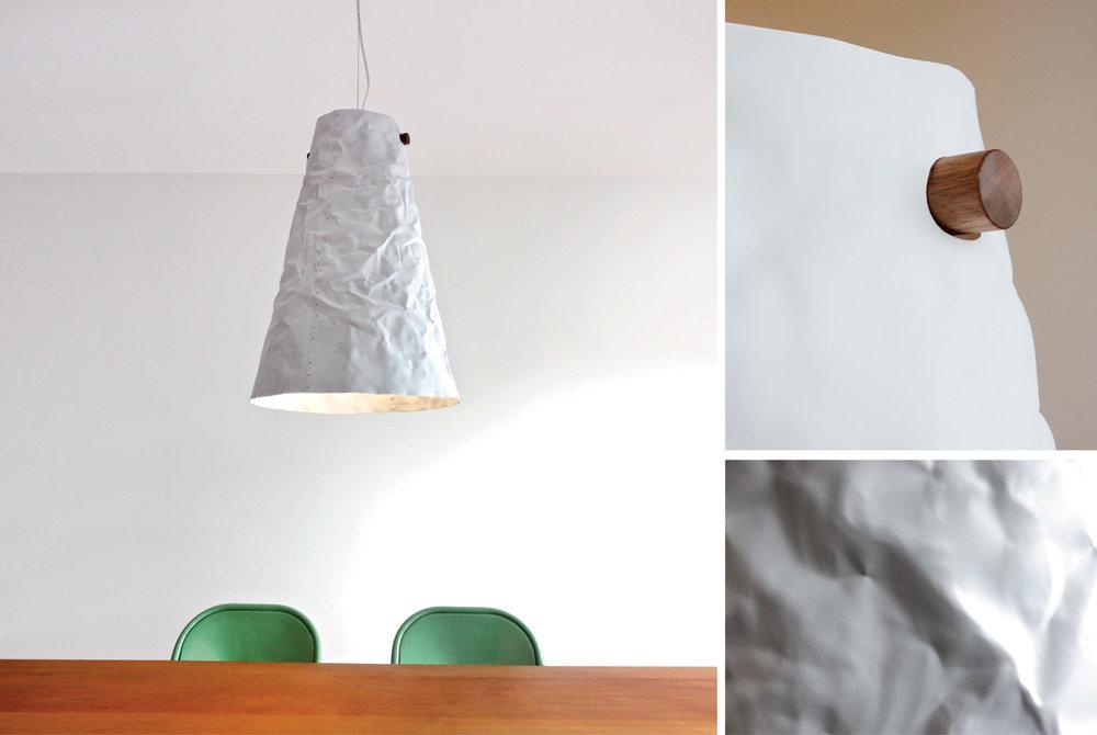 Ono Pendant Lamp - matte white, walnut hanger detail