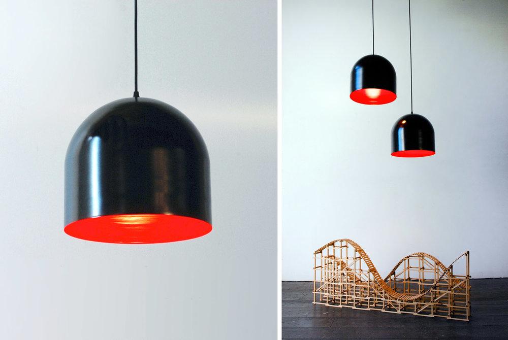 "Homespun Pendant Light - 12""Ø black and red"