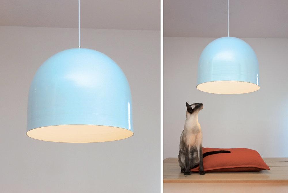 "Homespun Pendant Light - 18""Ø cerulean blue and white"