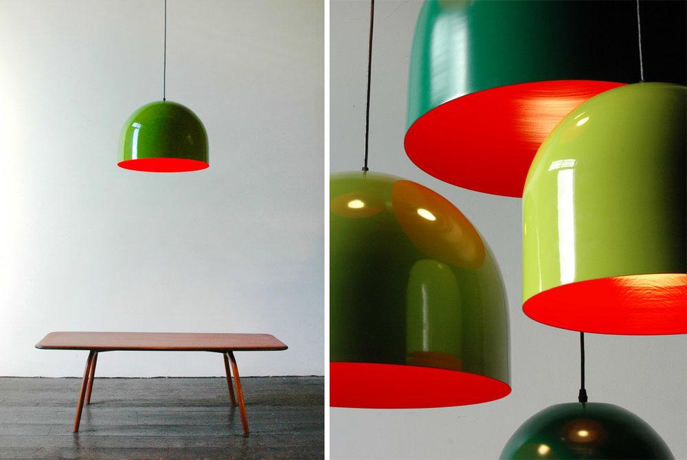 "Homespun Pendant Light - 18""Ø and 12""Ø green and red"