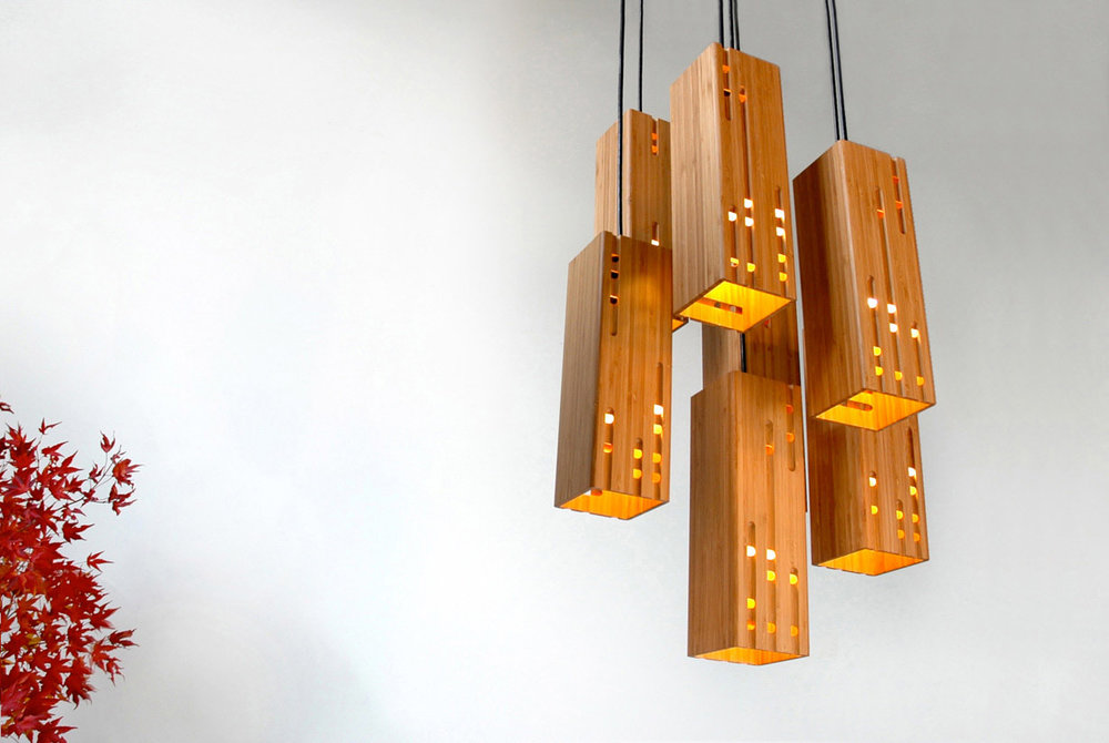 Calvino 7 bamboo pendant light