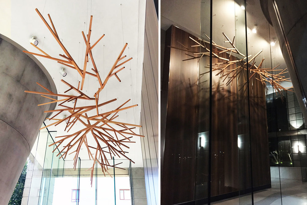 Eugenia Place Lobby sculpture - reclaimed fir