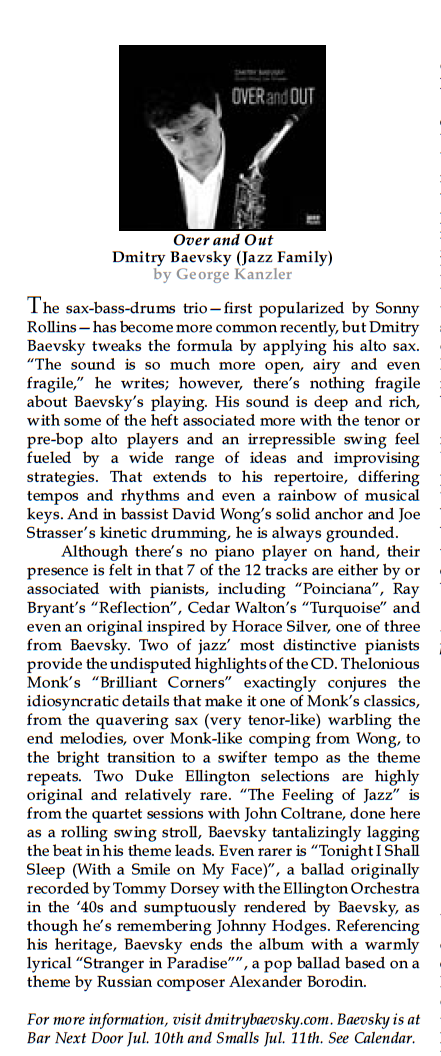 Over and Out review - The New York City Jazz Record July 2015.png