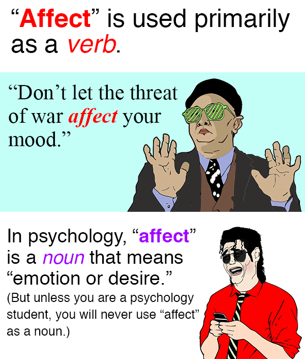 "FACT: 99% of you won't ever have to use ""affect"" as a noun."