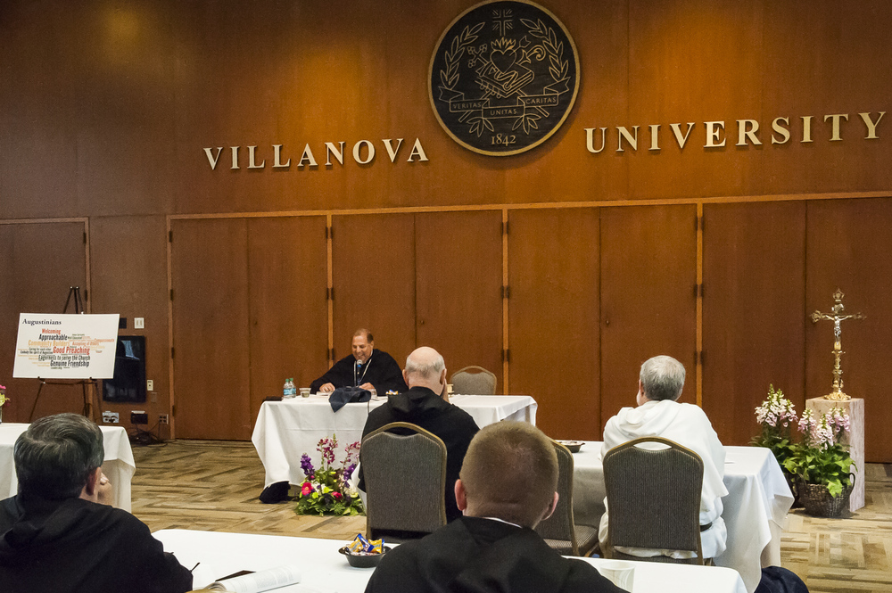 Bishop Alberto Bochatey, O.S.A., leading a session at the friars'  annual retreat