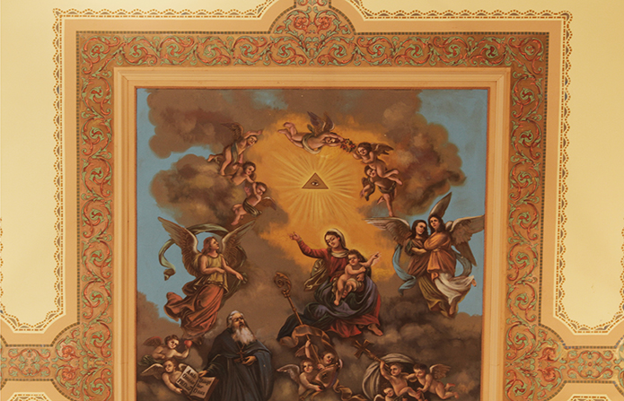 "Ceiling fresco ""Saint Augustine in his Glory,"" at Saint Augustine Church in Philadelphia"