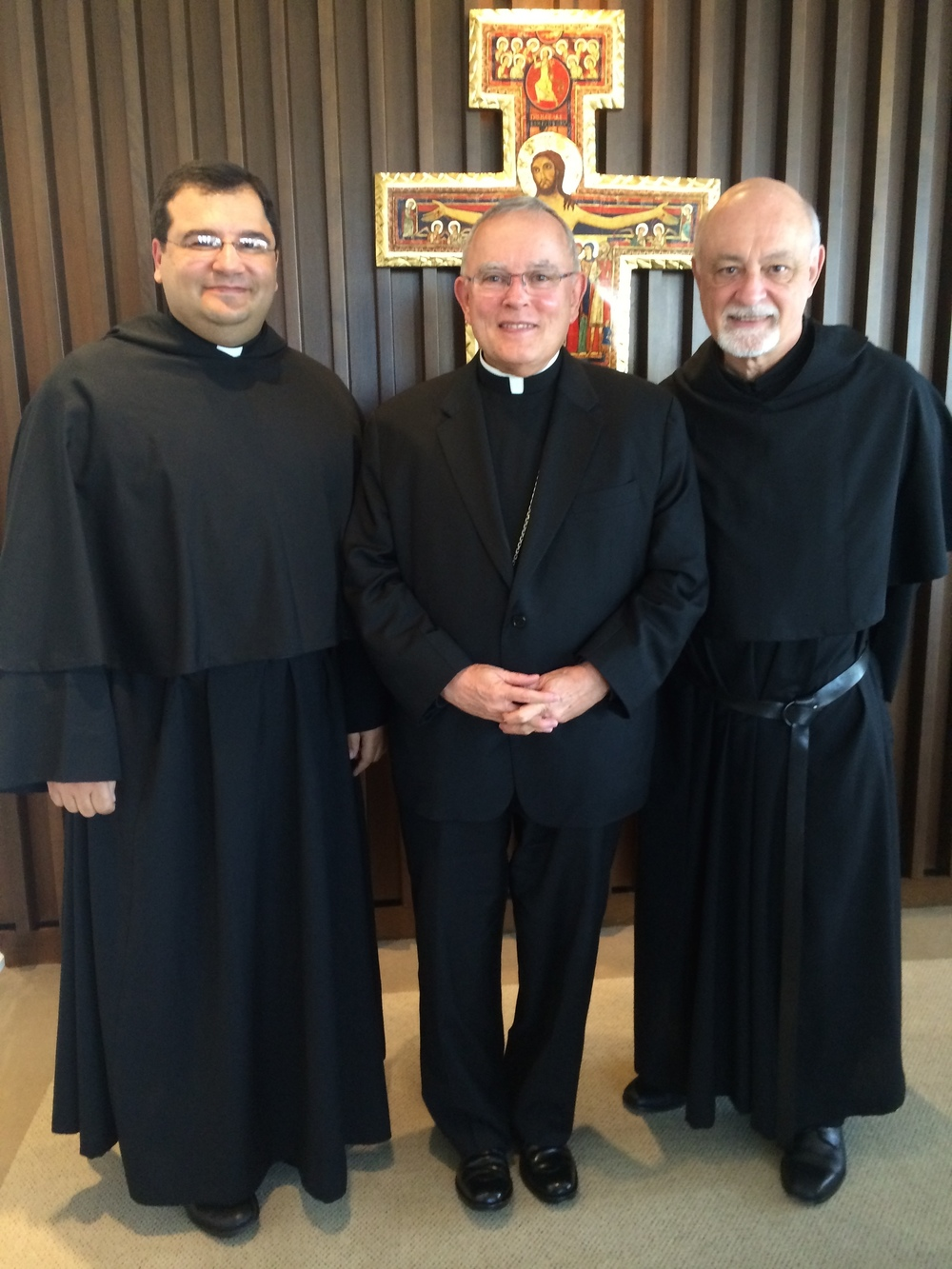 Joeseph Sciberras, O.S.A., Postulator General of the Oder of Saint Augustine, Charles Chaput, O.F.M. Cap., Archbishop of Philadelphia, and Michael Di Gregorio, O.S.A., Prior Provincial of the Province of Saint Thomas of Villanova.