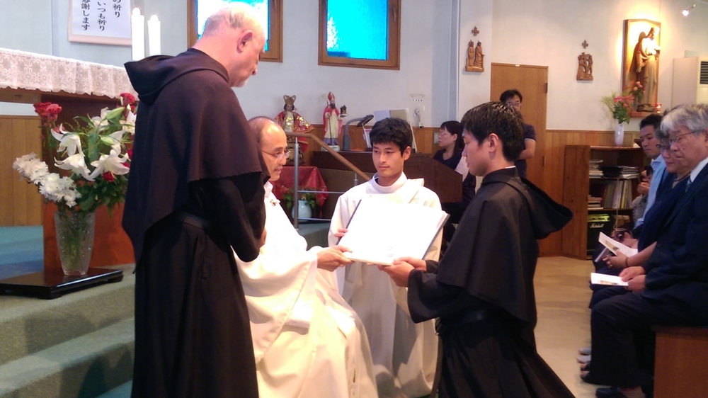 Atsushi Kuwahara, O.S.A., makes his first profession of vows in Japan.