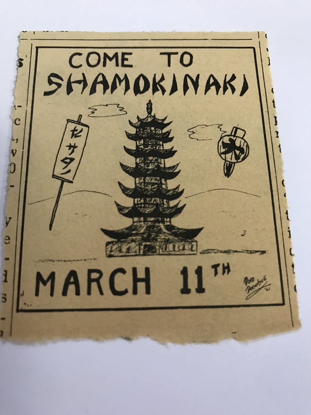 A poster from the annual Shamokinaki dance to raise funds for the Japanese mission.