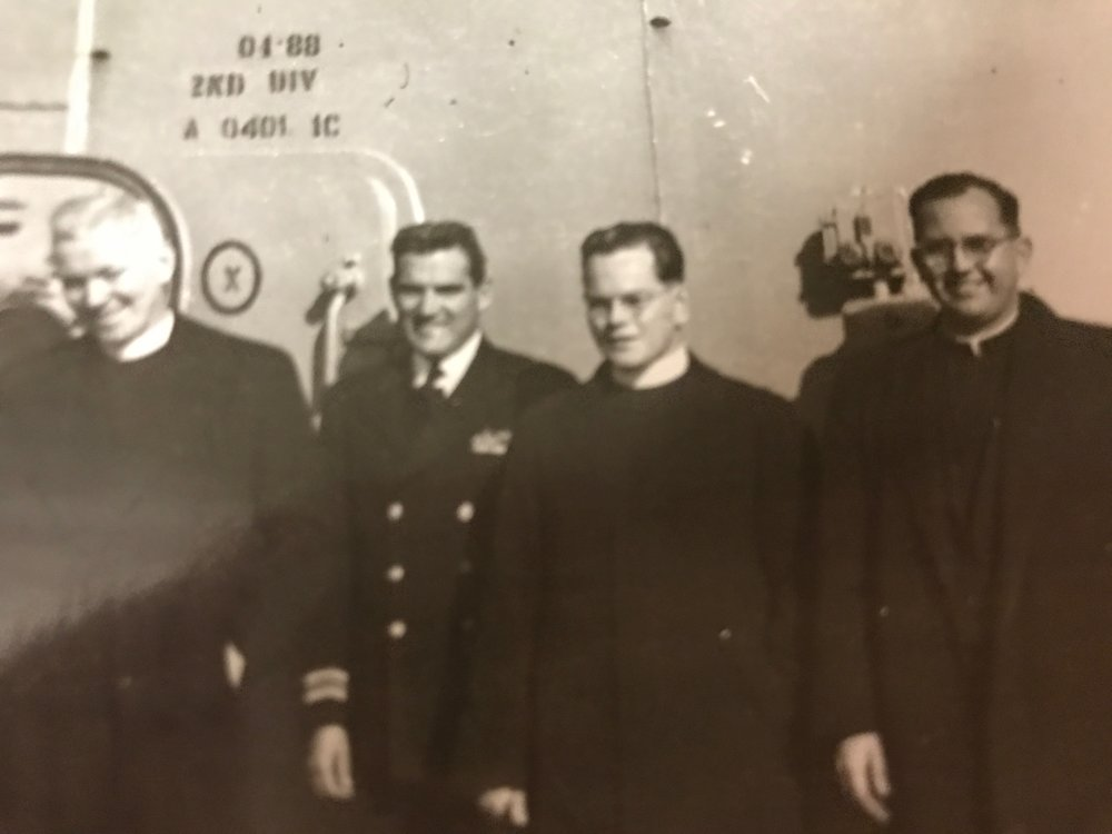 10/26/1952  Fathers Purcell, Robinson and Krupa aboard the SS. KYSKA to Yokohama, Japan