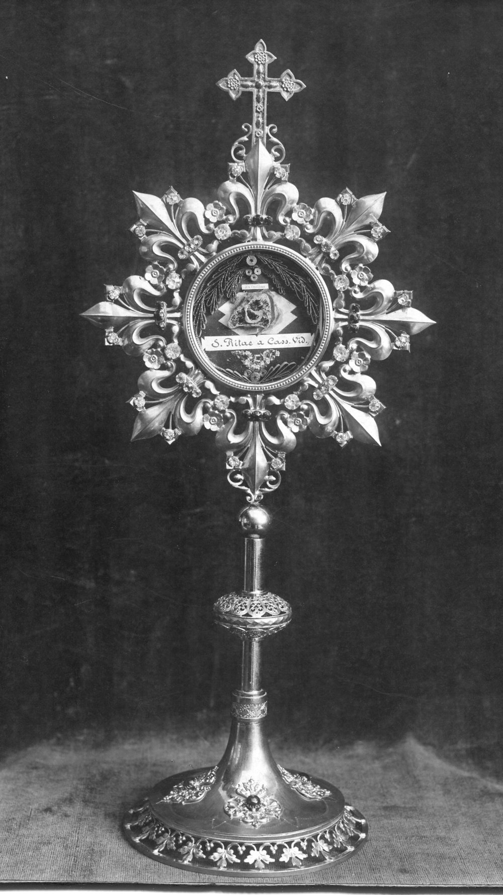 Early black & white photo of the relic of St. Rita of Cascia