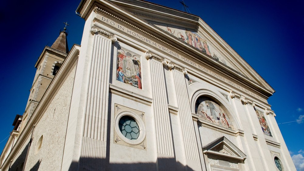 Genazzano, Italy--exterior of the Church of Our Mother of Good Counsel. Photo by Kevin Salemme