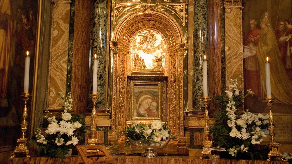 Genazzano, Italy--the altar of Our Mother of Good Counsel. Photo by Kevin Salemme