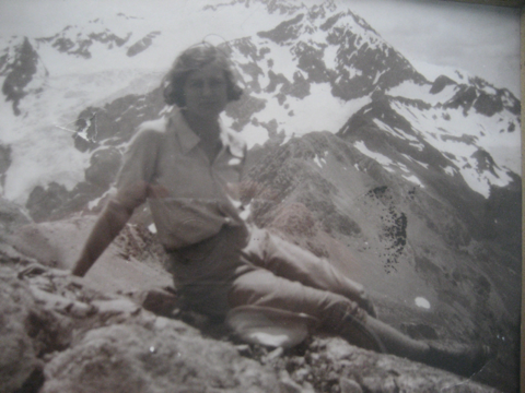My mother, Celia Twyneham, climbing a mountain. She doesn't look scared.