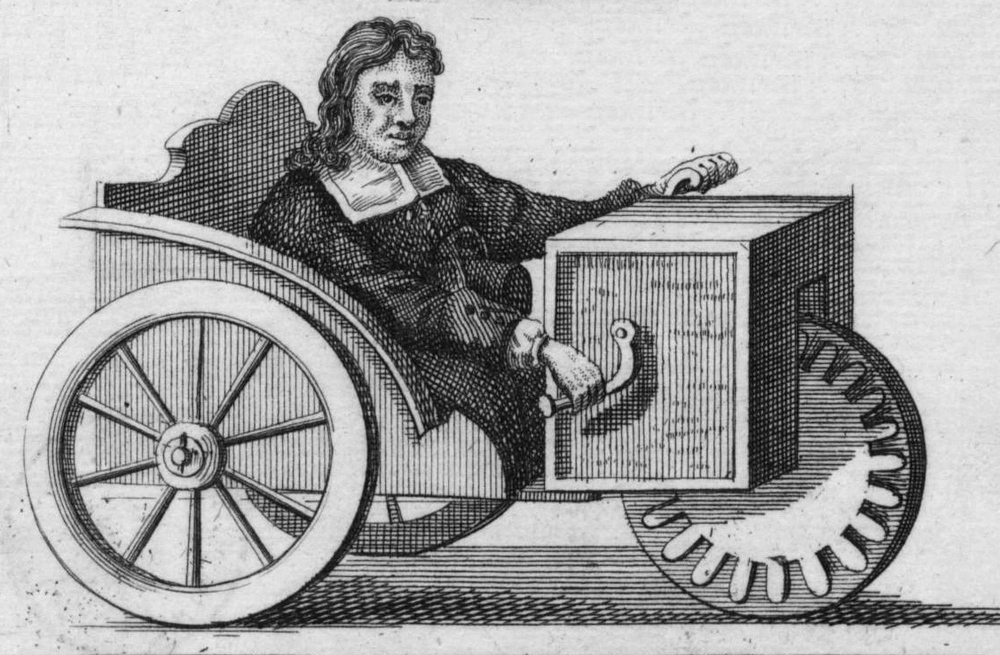 Rollstuhl Farfler's 3-wheel wheelchair, 1655. Public domain.